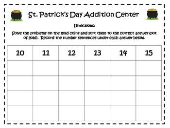 St. Patrick's Day Addition Math Facts Center {FREEBIE}