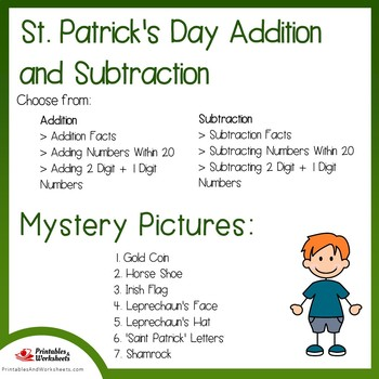 St Patricks Day Addition and Subtraction Coloring Sheets, Mystery Pictures