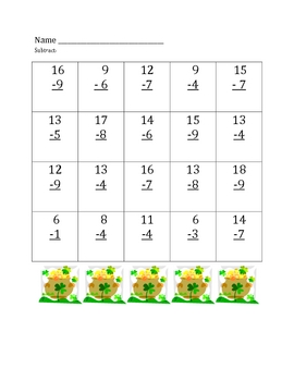 St. Patrick's Day Addition and Subtraction Math Facts