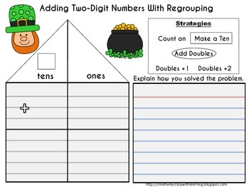 St. Patrick's Day Addition of (4) Two-Digit Numbers With Regrouping