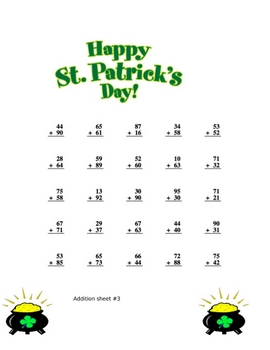 St. Patrick's Day Addition sheets with key