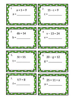 St. Patricks Day Algebra Scoot Task Cards