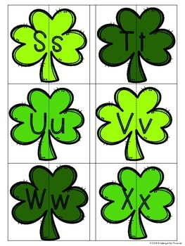 St. Patrick's Day Alphabet Matching - Upper case and Lower case Match Activity