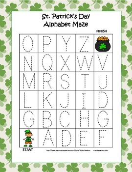 St. Patrick's Day Alphabet Tracing Mazes