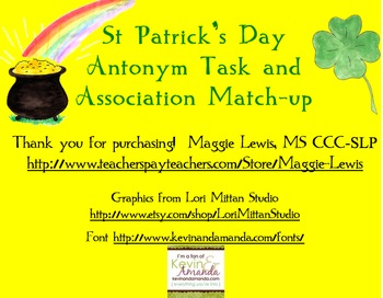 St. Patrick's Day Antonyms and Association Match-up