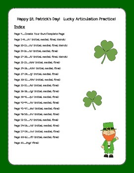 St. Patrick's Day ~ Articulation!