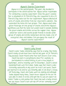 St. Patrick's Day Articulation Carryover Paragraphs (S, Z, R & TH)