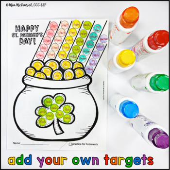 Articulation Dot Art for St. Patrick's Day {No Prep!}