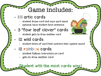 St. Patrick's Day Articulation Game R, S, L, TH