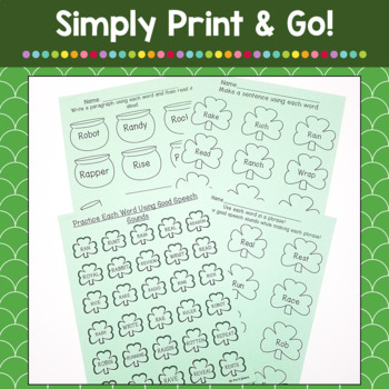 St. Patrick's Day NO PREP Articulation Worksheets for ALL SOUNDS