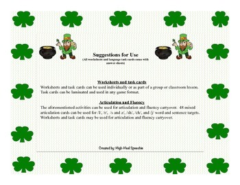 St. Patrick's Day Articulation and Language Activities