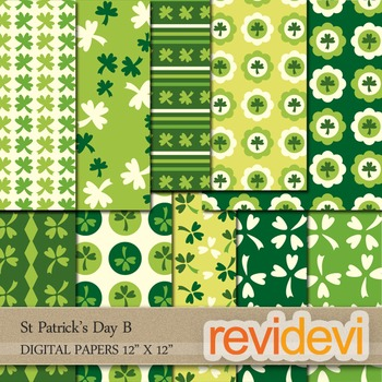 St. Patrick's Day B Digital Papers - Patterned background