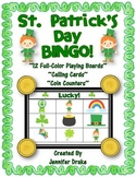 St. Patrick's Day BINGO!  12 Playing Cards, Calling Cards & Lucky Coin Counters!