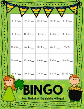 St Patrick's Day BINGO Addition with 8,9,DOUBLES, MAKING TEN
