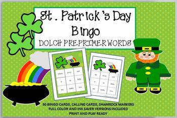 St Patrick's Day BINGO DOLCH PREPRIMER