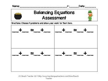 St. Patrick's Day Balancing 2-Digit Equations Math Center