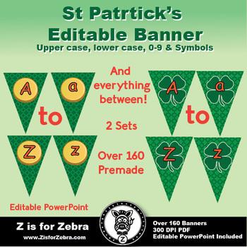 St. Patrick's Day Banners! Editable! ZisforZebra