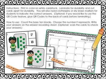 St. Patrick's Day Base Ten Clip Cards and QR Code Fun