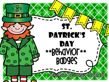 St. Patrick's Day Behavior Badges