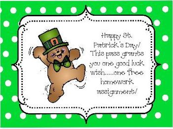 St. Patrick's Day Big Bundle of Homework Passes and Magic Pudding