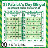 St. Patrick's Day Bingo - 30 Different Boards + Extras! { Z is for Zebra }