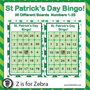 St. Patrick's Day Bingo - 30 Different Boards + Extras! { Z is for Zebra }
