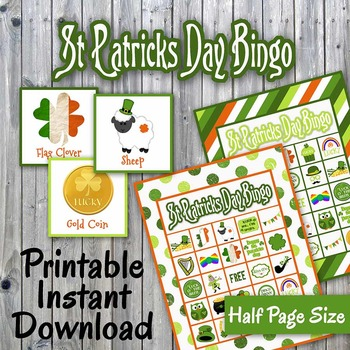 St. Patricks Day Bingo Cards and Memory Game - Printable - Up to 30 players