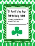 St. Patrick's Day Bingo, Find the Missing Addend