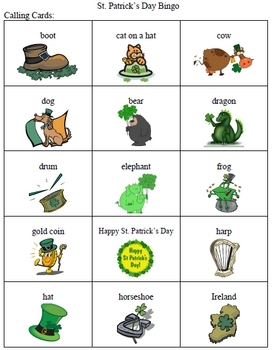 St. Patrick's Day Bingo Game