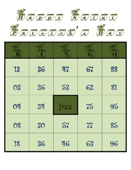 St. Patrick's Day - Bingo Game Worksheets