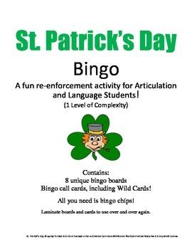 St. Patrick's Day Bingo! Speech & Language Re-enforcement & Enrichment Activity