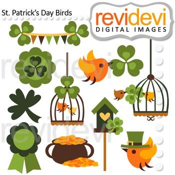 St Patrick's Day Birds Clipart