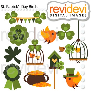 St Patrick's Day Birds Clipart