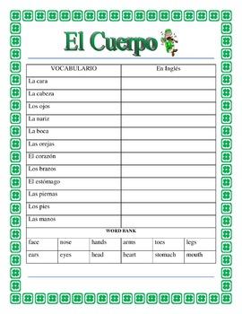 Spanish Body Parts- St Patrick's Day - Label the Leprechaun- El Cuerpo