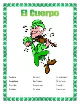 Spanish Body Parts- St Patrick's Day - Label the Leprechau