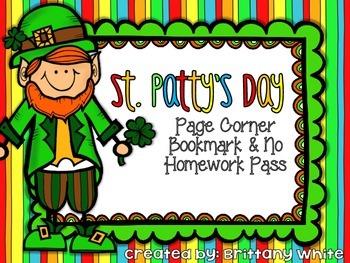 St. Patrick's Day Bookmark and Homework Pass