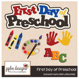 First Day of Preschool Clipart and SVG Cuttable Clipart Se