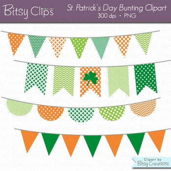 St. Patrick's Day Bunting Clipart Digital Art Set Green Orange Banner Flag