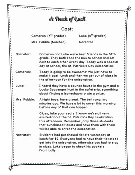 St. Patrick's Day CCSS Reader's Theater Script