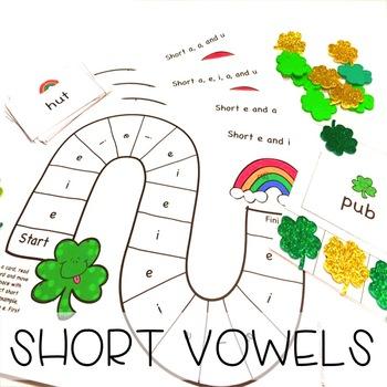 St. Patricks Day CVC Short Vowels Literacy Centers