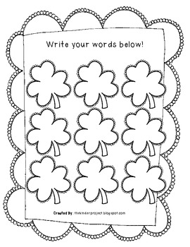St. Patrick's Day CVC Word Work