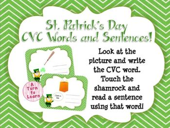 St. Patrick's Day Spelling CVC Words and Sentences Smartboard Game!