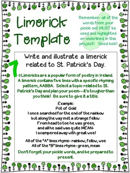 St. Patrick's Day Pick A Project Writing Activities, Choice Boards, Rubric