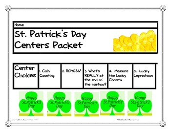 St. Patrick's Day Center Packet for First and Second Grade