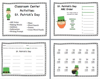 St. Patrick's Day Centers/Activity Packet