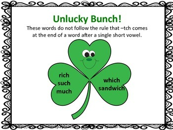 St. Patrick's Day Ch/Tch Phonics Board Game, Sort, and Rules Poster