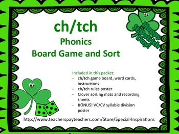 St. Patrick's Day Ch/Tch Phonics Board Game, Sort, and Rul