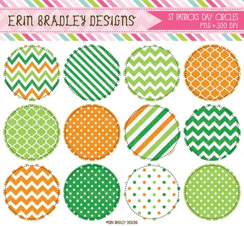 St. Patricks Day Circle Frame Clipart Graphics Green & Orange