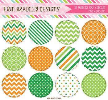 St. Patricks Day Circle Frame Clipart Graphics Green & Orange
