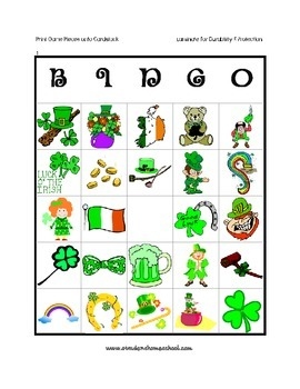 St Patrick's Day Classic Bingo Picture Printable Game